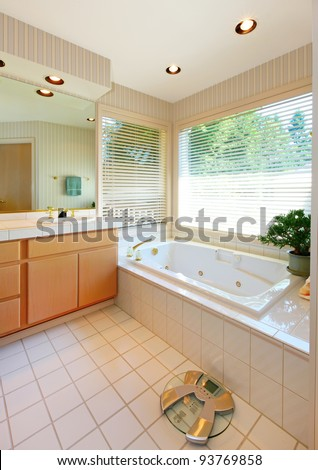 Nice bathroom with white tub, wood cabinets and scale. - stock photo