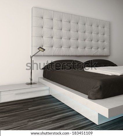 Nice bedroom interior with modern furniture and cozy bed - stock photo