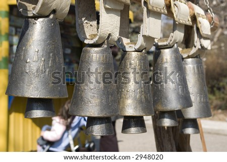 Nice bells for sale in a row