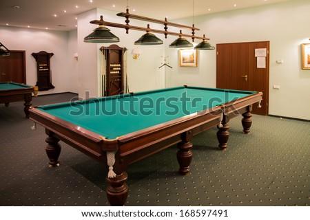nice billiards room in a billiards club - stock photo