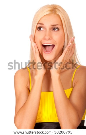 Nice blonde from surprise has opened mouth, it is isolated on white background. - stock photo