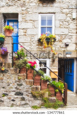 Nice blue front door of an english house - stock photo