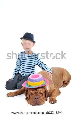Nice Boy and a Big Dog Portrait - stock photo
