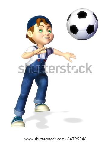 nice boy cartoon footballer catching the ball - stock photo