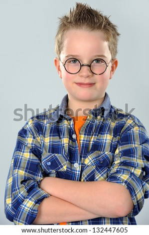 nice boy with glasses - stock photo