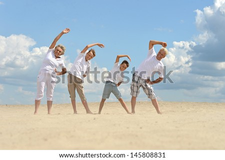 nice brothers with their grandparents walking on the sand in the summer - stock photo
