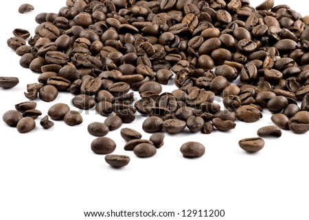 nice browne coffee beans isolated on white background - stock photo