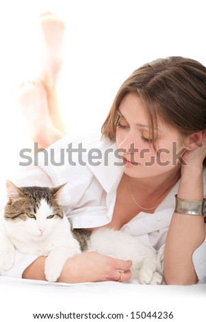 Nice brunette with a cat