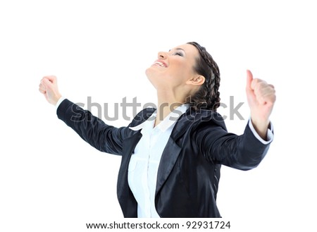 Nice business woman having achieved success. Isolated on a white background. - stock photo