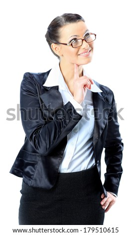 Nice business woman in glasses, and dreams. Isolated on a white background. - stock photo