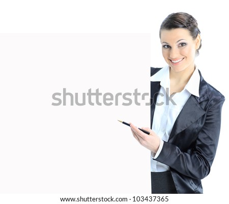 Nice business woman with a white banner. Isolated on a white background. - stock photo