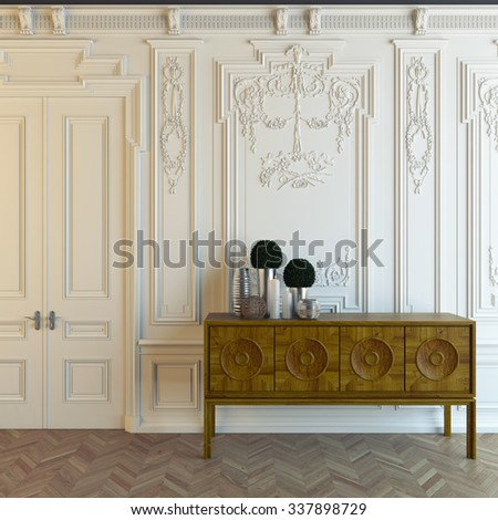 nice Cabot in the classic room 3d Rendering - stock photo