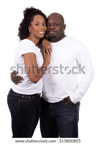 nice casual couple posing on white isolated background