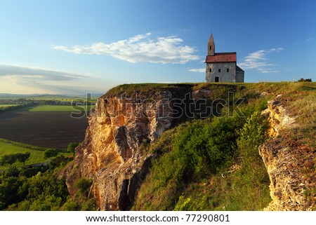 Nice Catholic Chapel in eastern Europe - village Drazovce near town Nitra - stock photo