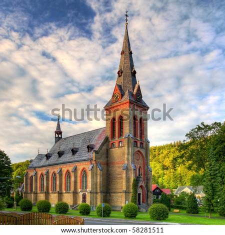 Nice Catholic Church in eastern Europe - stock photo