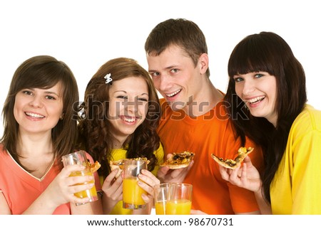 Nice Caucasian brilliant campaign of four people eating pizza on a white background