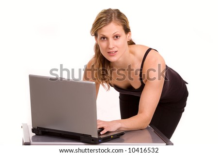 Nice caucasian girl with laptop isolated on white - stock photo