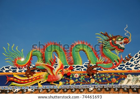 nice chinese dragon sculpture at the temple roof