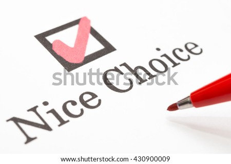 Nice Choice check boxes - stock photo