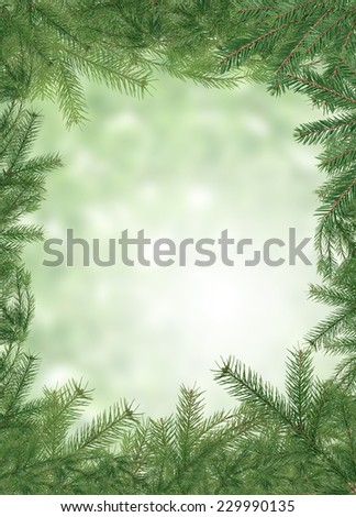 Nice Christmas background made from lot of spruce twigs - stock photo
