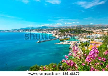 Nice city, french riviera, France. Turquoise mediterranean sea and perfect blue sky - stock photo