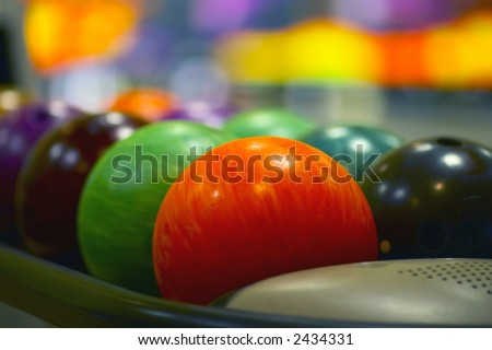 Nice close-up of the colored bowling balls