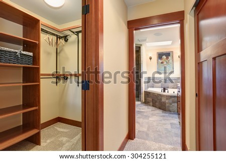 Nice closet space in master bathroom.