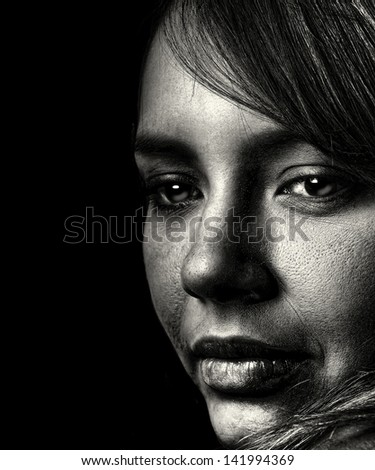Nice closeup Emotional portrait of a spanish woman - stock photo