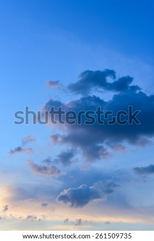 Nice cloud with sunset sky background - stock photo