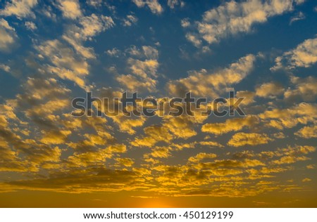 Nice clouds with sunset light in blue sky