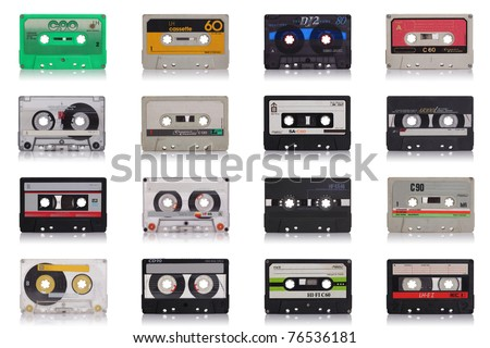 nice collection of old music cassette isolated on white background - stock photo