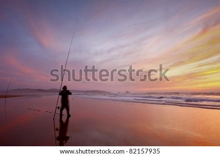 Nice color at sunset on beach - stock photo