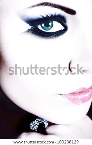 nice color face of girl - stock photo