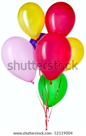 Nice colorful balloon with red string for party decorations