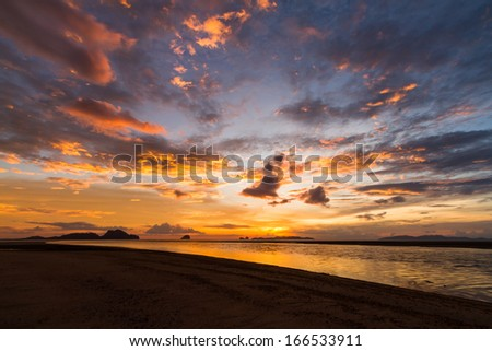 nice colorful sky while sunset at the beach
