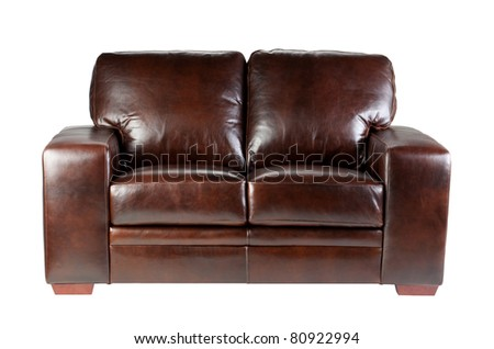 Nice  comfortable and luxury design of genuine leather sofa isolated on white - stock photo