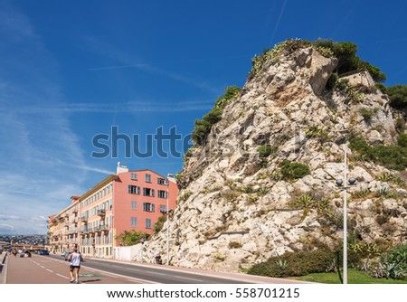Nice cote d'azur rock france building street road traffic
