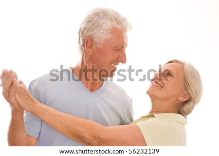 nice  couple dancing on a white background - stock photo