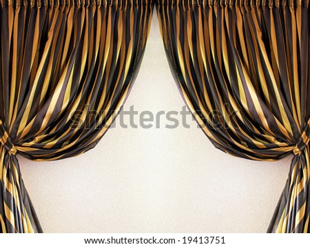Nice curtains background decor with gold color