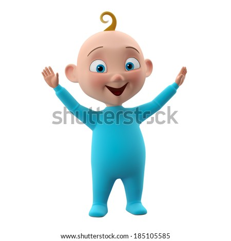 Nice 3d child, baby boy in blue pajamas, smiling happy toddler icon, beautiful tiny babies, cute symbol childhood, isolated on white background, learning to walk  - stock photo