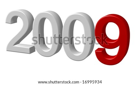 nice 3d 2009 rendering isolated on white