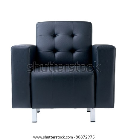Nice dark blue leather armchair isolated on white  - stock photo
