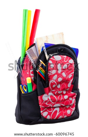 Nice decorative backpack or bookbag with school supplies isolated on white background