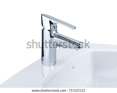 nice design of the chrome faucet and white basin - stock photo
