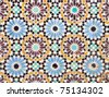 Nice detail of an islamic mosaic floor, a bit run down, but still showing the beauty of Islamic art. - stock photo