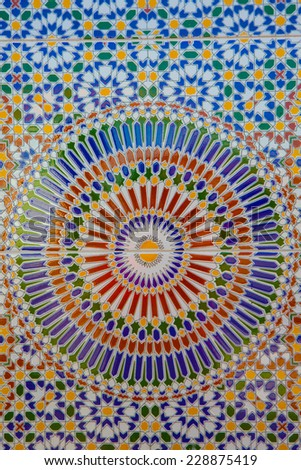 Nice detail of an islamic mosaic floor showing the beauty of Islamic art. - stock photo
