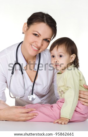 nice doctor with little girl on white