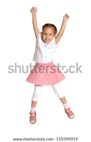 nice emotional little girl on white background - stock photo