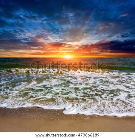 Nice evening landscape with sunset over sea