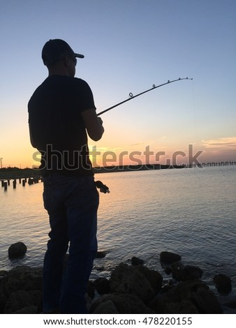 Nice evening out by the water Catching some fish
